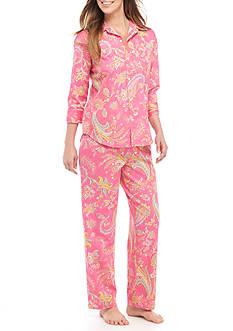 Lauren Ralph Lauren Petite Three-Quarter Length Sleeve Sateen Pajama Set