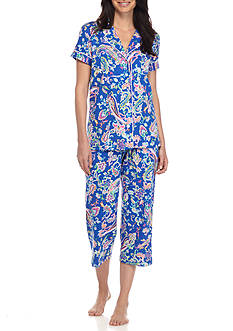 Lauren Ralph Lauren Short Sleeve Knit Notch Capri Pajama Set