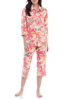 Lauren Ralph Lauren Three-Quarter Sleeve Lawn Capri Pajama Set - 8191388
