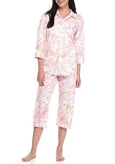 Lauren Ralph Lauren Three-Quarter Sleeve Lawn Capri Pajama Set - 8191388