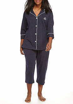 Lauren Ralph Lauren Plus Size Notch Collar Pajama Set