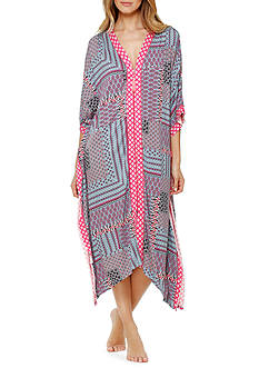 Ellen Tracy Printed Zip Caftan