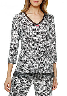 Ellen Tracy Printed Mesh Trim Top