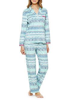 Ellen Tracy Notch Collar Micro Fleece Pajama Set