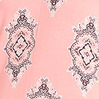 Women: Designer Sale: Coral / Print Ellen Tracy Printed Caftan Pajama Set