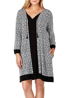 Ellen Tracy Plus Size Short Printed Tunic