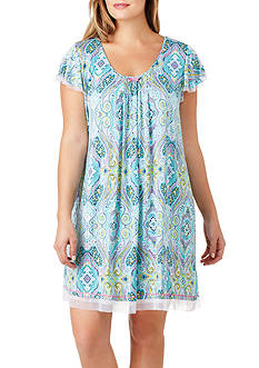 Ellen Tracy Plus Size Printed Flutter Sleeve Sleep Gown
