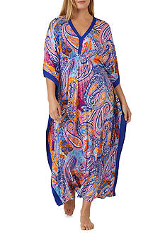 Ellen Tracy Plus Size Printed Jersey Caftan
