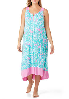 Ellen Tracy Plus Size Sleeveless Midi Nightgown