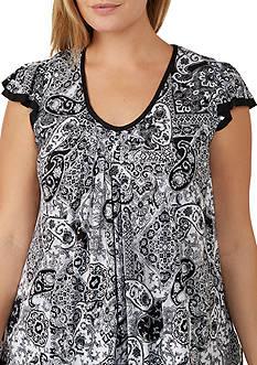 Ellen Tracy Plus Size Flutter Sleeve Top