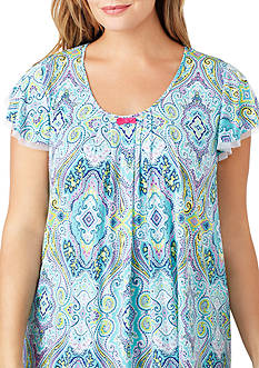 Ellen Tracy Plus Size Flutter Sleeve Printed Sleep Top