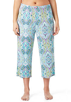 Ellen Tracy Plus Size Printed Cropped Pajama Pant