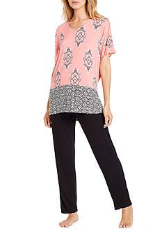 Ellen Tracy Plus Size Printed Caftan Pajama Set
