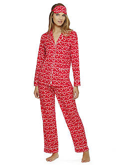 DKNY Long Sleeve Notch Collar Pajama Set With Eye mask