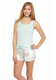 Linea Donatella Bridal Knit Tank and Satin Boxers Pajama Set