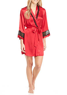 Linea Donatella Satin Lace Trim Wrap Robe