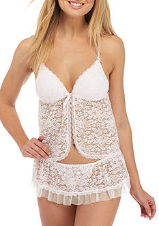 Linea Donatella 2-Piece Stretch Lace Babydoll Set