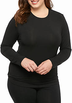 Cuddl Duds® Plus Size Softwear Lace Edge Long Sleeve V-Neck with Smart Layer
