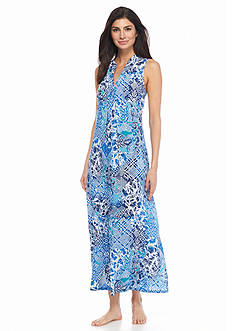 N Natori Mosaic Meadow Sleeveless Gown