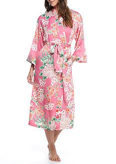 N Natori Pink Floral Satin Robe