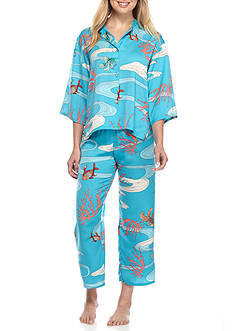 N Natori Elbow Sleeve Printed Pajama Set