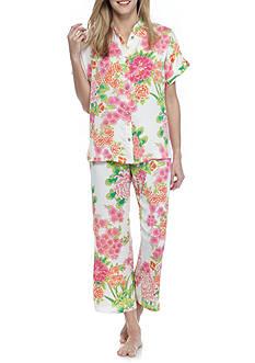 N Natori Floral Satin Pajama Set