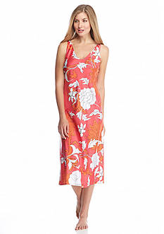 N Natori Floral V-Neck Sleeveless Gown