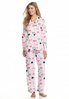 Karen Neuburger 2-Piece Pink Sheep Microfleece Button Front Pajama Set