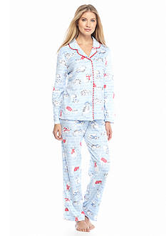 Karen Neuburger 2-Piece Cat Button Front Microfleece Pajama Set