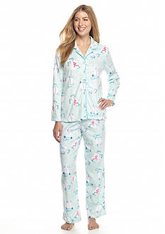 Karen Neuburger 2-Piece Snowman Microfleece Button Front Pajama Set
