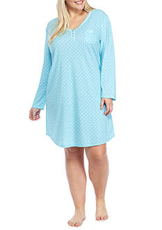 Karen Neuburger Plus Size Long Sleeve Henley Nightshirt