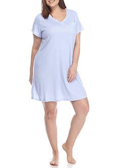 Karen Neuburger Plus Size Printed Short Sleeve Nightshirt