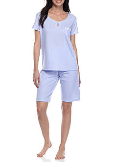 Karen Neuburger Short Sleeve Pullover Bermuda Pajama Set