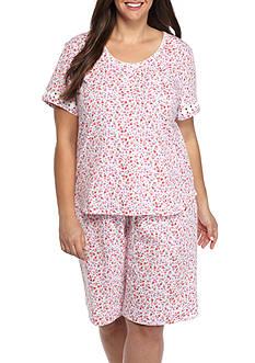 Karen Neuburger Plus-Size Short Sleeve Bermuda PJ Set