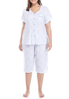 Karen Neuburger Plus Size Cardigan Capri Pajama Set