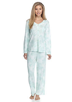 Karen Neuburger Mint Paisley Long Sleeve Cardigan Pajama