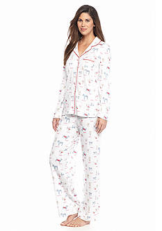 Karen Neuburger 2-Piece Dog Button Front Pajama Set