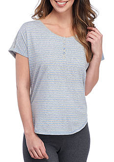 Karen Neuburger Short Sleeve Henley Top