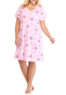 Karen Neuburger Plus Size Short Sleeve Sleepshirt with Headband