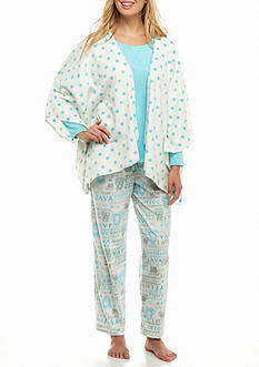 Karen Neuburger Minky Fleece 3-Piece Poncho Pajama Set