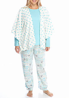 Karen Neuburger Plus Size Minky Fleece 3-Piece Poncho Pajama Set