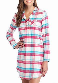 Jockey Long Sleeve Flannel Plaid Sleepshirt