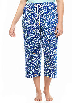 Jockey Plus Size Bird Flower Print Capris