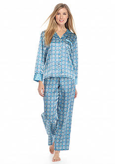 Jones New York Printed Check Satin Notch Pajama Set