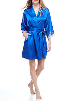 Jones New York Blue Lace Trim Wrap Robe