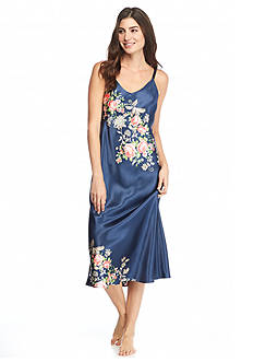Jones New York Long Midnight Roses Satin Gown