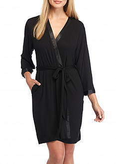 Jones New York Black Jersey Wrap Robe
