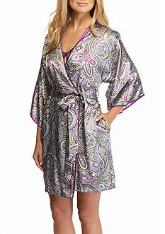 Jones New York Paisley Montage Wrap Satin Robe
