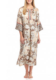 Jones New York Garden Print Satin Caftan