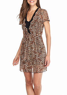 Jones New York Leopard Mesh Print Wrap Robe